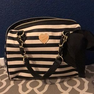 Black and white striped Betsy Johnson Purse